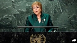 Chile's President Michelle Bachelet addresses the 71st session of the United Nations General Assembly, at U.N. headquarters, Sept. 21, 2016.