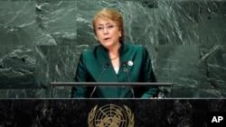 Presiden Chile Michelle Bachelet berpidato di Majelis Umum PBB di New York. (Foto: Dok)