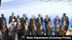 2014年8月美國首次舉辦的非洲峰會上各國領導人合影