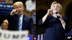 FILE - Republican presidential candidate Donald Trump, left, and his Democratic opponent Hillary Clinton are shown in this composite image.