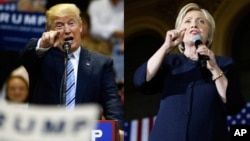 U.S. presidential candidates Hillary Clinton and Donald Trump. CBS News said Clinton leads Trump 46 percent to 39, similar to her 43-37 lead in mid-June.