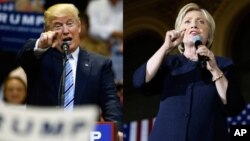 FILE - Republican presidential candidate Donald Trump (L) and his Democratic rival Hillary Clinton are seen in a combination photo.