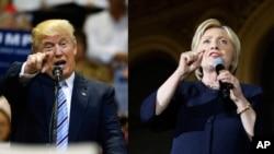 ရီပတ္ဘလီကန္ ပါတီကုိယ္စားျပဳ သမၼတေလာင္းယွဥ္ၿပိဳင္သူ Donald Trump ၊ ဒီမုိကရက္တစ္ပါတီကိုယ္စားျပဳ သမၼတေလာင္း ယွဥ္ၿပိဳင္သူ Hillary Clinton။