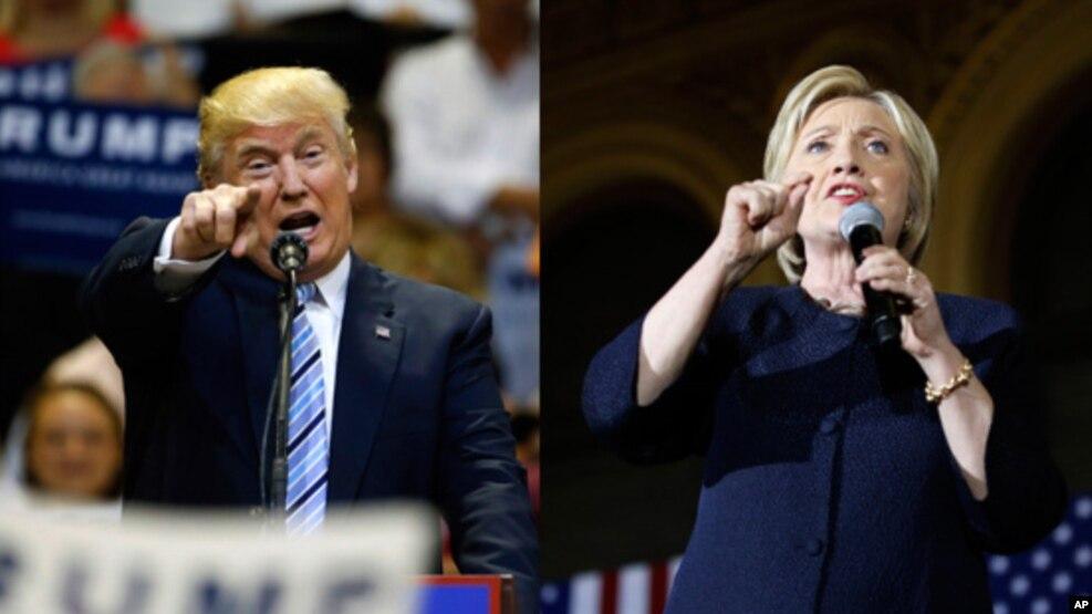 Ứng cử viên tổng thống Đảng Cộng hòa Donald Trump (trái) và ứng cử viên tổng thống Đảng Dân chủ Hillary Clinton (phải).