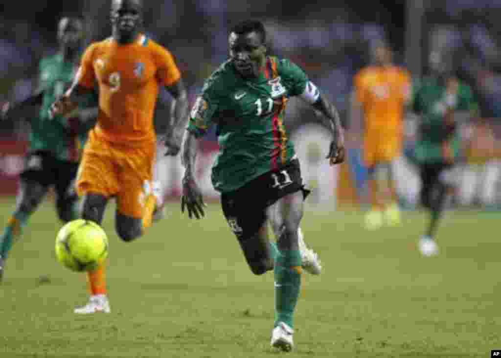 Zambia's Christopher Katongo runs with the ball during their African Nations Cup final soccer match against Ivory Coast at the Stade De L'Amitie Stadium in Gabon's capital Libreville February 12, 2012.