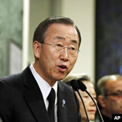 UN Secretary General Ban Ki-moon at the UN Headquarters in New York, 12 Jan 2011