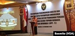 Menko Polhukam Mahfud Md saat membuka acara evaluasi sistem database Perkara Pidana Secara Terpadu Berbasis Teknologi Informasi di Jakarta, Senin, 25 Februari 2020. (Foto: VOA/Sasmito)