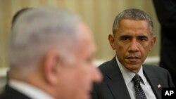 2014年10月1日美国总统奥巴马在白宫会见以色列总理内塔尼亚胡。