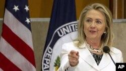 Хиллари Клинтон на открытии второго ежегодного Глобального форума по проблемам диаспор в Вашингтоне