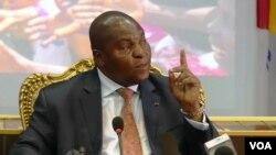 Le président Faustin-Archange Touadéra de la Centrafrique, à Bangui, 30 mars 2018. (VOA/Freeman Sipila)