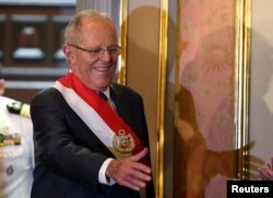 Peru's President Pedro Pablo Kuczynski attends the swearing-in ceremony of new Interior Minister Vicente Romero at the government palace in Lima, Peru Dec. 27, 2017.