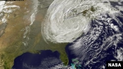 NASA's Earth-observing satellites are gathering images and data as Sandy, though no longer a hurricane, continues to affect a large area of the eastern United States after coming ashore on October 29, 2012.