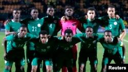 L'équipe du Nigeria avant leur match contre le Sénégal le 23 mars 2017 .