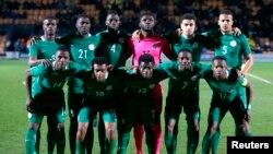 L'équipe du Nigeria pose pour une prise de photo avant un match entre le Nigeria et le Sénégal le 23 mars 2017.