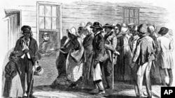 Artist James E. Taylor produced this sketch of the Freedmen's Bureau office in Richmond, Virginia, issuing food rations to old and sick former slaves in 1866