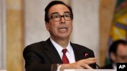Menteri Keuangan AS, Steve Mnuchin mengumumkan sanksi terhadap 17 warga Saudi hari Kamis (15/11).