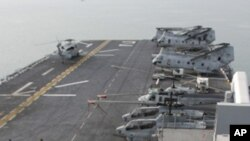 ទិដ្ឋភាពលើនាវាចម្បាំងសហរដ្ឋអាមេរិក USS Essex នៅក្នុងឈូងសមុទ្រថៃ នៅជិតទីក្រុងព្រះស៊ីហនុ។ (រូបថតឯកសារ)
