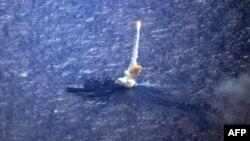 태평양 해상의 미사일구축함에서 요격미사일이 발사되고 있다. (자료사진)
