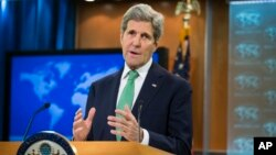 Ngoại trưởng John Kerry phát biểu trước báo giới tại Bộ Ngoại giao Mỹ ở Washington ngày 17/3/2016.