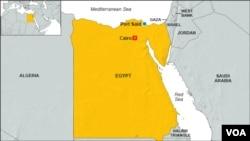 Peta kawasan Port Said, Mesir.