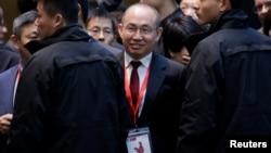 法國總統馬克龍訪華期間,在北京SOHO 3Q(共享辦公空間),SOHO中國公司董事長潘石屹參加法中人工智能論壇。(2018年1月9日資料照)。