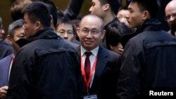 法國總統馬克龍訪華期間,在北京SOHO 3Q(共享辦公空間),SOHO中國公司董事長潘石屹參加法中人工智能論壇。 (2018年1月9日)。