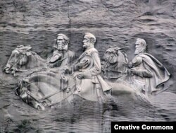 A rock carving in Stone Mountain, Ga., depicts Confederate Robert E. Lee and Stonewall Jackson, two prominate generals, as well as Jeffereson Davis, the president of the Confederacy.