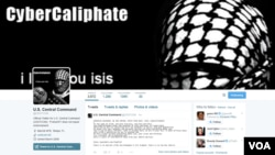 FILE - Hackers who say they are loyal to the Islamic State group, take over the U.S. Central Command Twitter account, Jan. 12, 2015.