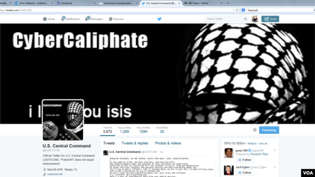 FILE - Hackers who said they are loyal to the Islamic State group, hacked the U.S. Central Command Twitter account last year.