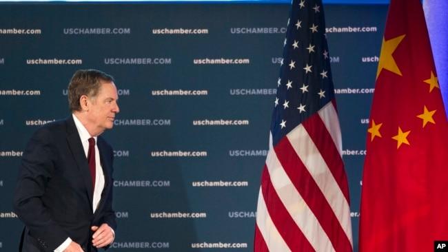 美國貿易代表萊特希澤2018年5月1日就美中經貿談判發表談話(美聯社)
