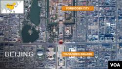 天安門廣場汽撞車事發點地圖。