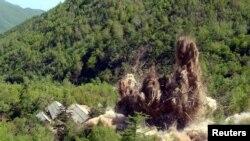 شمالی کوریا کی جوہری تجربات کی تنصیب جسے مبینہ طور پر تباہ کر دیا گیا۔ فائل فوٹو