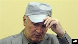Former Bosnian Serb Gen. Ratko Mladic removes his hat in the court room during his initial appearance at the U.N.'s Yugoslav war crimes tribunal in The Hague, Netherlands, June 3, 2011.