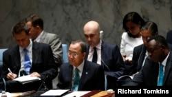 Generalni sekretar UN Ban Ki-Mun na vanrednoj sednici SB posvećenoj situaciji na Bliskom istoku.