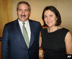 Nasser Judeh, Jordanian Foreign Minister with VOA's Carol Castiel