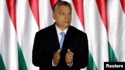 匈牙利总理欧尔班在布达佩斯出席欧洲议会的选举。(2019年4月5日)
