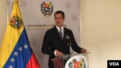Juan Guaidó at a press conference. Caracas, Venezuela. March 23, 2020. Photo: Álvaro Algarra - VOA