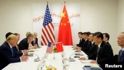 2019年6月29日,美國總統特朗普和中國國家主席習近平在G20領導人日本大阪峰會期間舉行雙邊會晤。