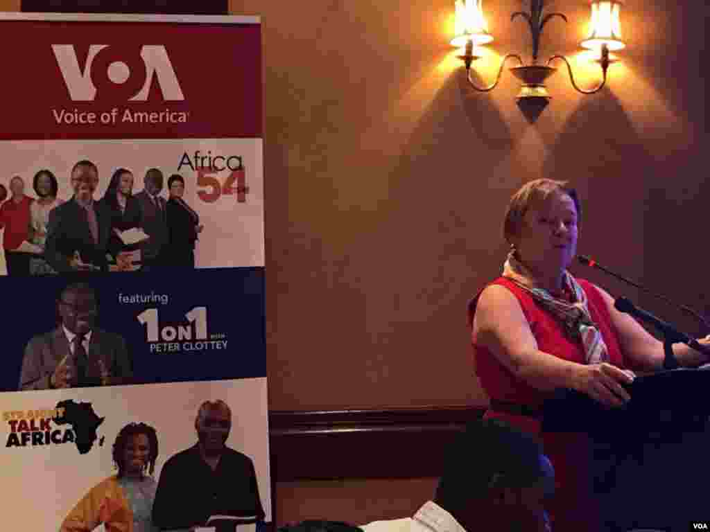 VOA Director Amanda Bennett giving a keynote speech at the VOA affiliate conference in Nairobi, Kenya.