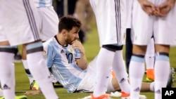 Lionel après une défaite contre le Chili (4-2) lors de la finale de la Copa America 2016.