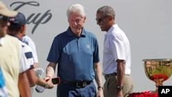 Barack Obama i Bill Clinton Liberty National Golf Club à Jersey City, N.J., 28 september 2017.