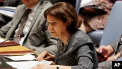 FILE - Rosemary DiCarlo, who then was deputy U.S. ambassador to the United Nations, speaks before the U.N. Security Council at U.N. headquarters, Aug. 5, 2014. On March 28, 2018, U.N. Secretary-General Antonio Guterres named DiCarlo U.N. undersecretary-general for political affairs.