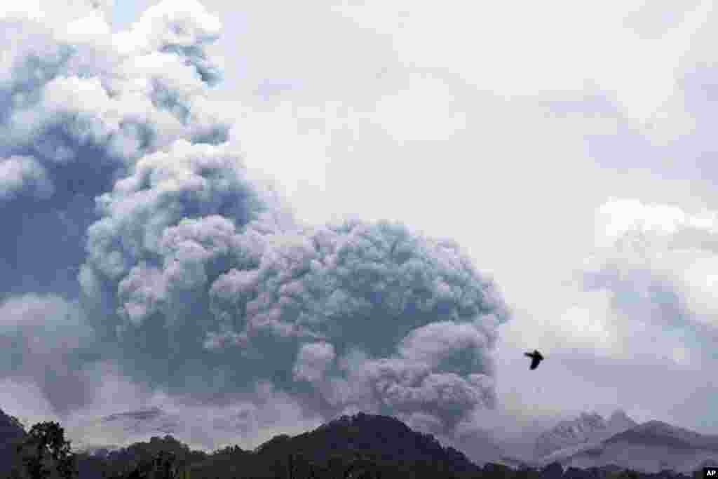 Mount Kelud erupts, as seen from Anyar village in Blitar, East Java, Indonesia, Feb. 14, 2014.
