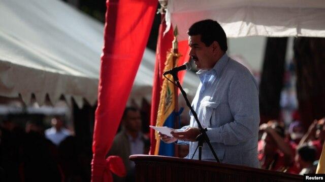 Phó Tổng thống Venezuela Maduro đọc một tuyên bố về tình trạng sức khỏe của Tổng thống Chavez ở Guarico, 20/12/2012