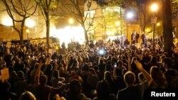 지난 11일 미국 오리건 주 포트랜드 시에서 도널드 트럼프 대통령 당선인에 반대하는 시위가 벌어졌다.