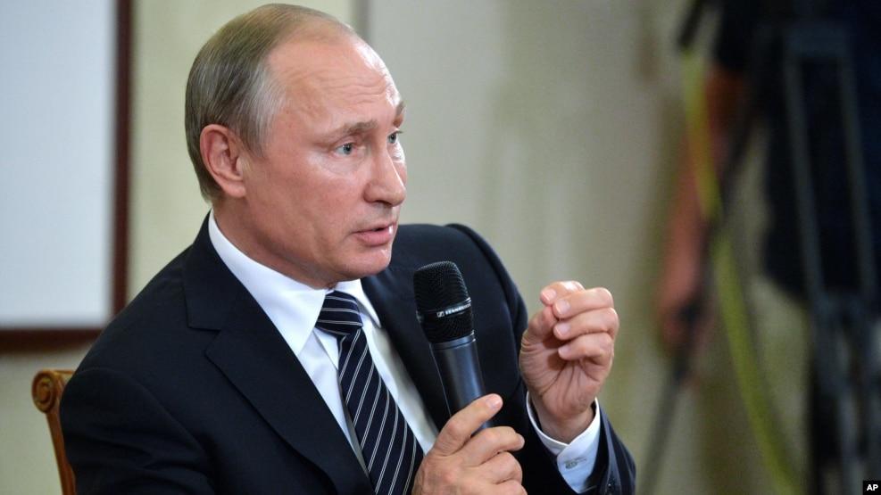 Tổng thống Nga Vladimir Putin phát biểu trong một cuộc họp báo sau khi kết thúc Hội nghị Thượng đỉnh G-20 ở Hàng Châu, Trung Quốc, ngày 5 tháng 9 năm 2016.