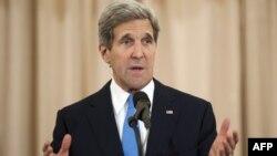 19일 존 케리 미국 국무장관이 19일 연례 인신매매 실태 보고서 내용과 관련해 연설하고 있다.