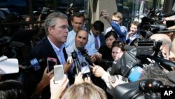 "Republican presidential candidate Jeb Bush, speaking to reporters in San Francisco on July 16, 2015, has called the global powers' nuclear accord with Iran ""appeasement,"" rather than diplomacy."