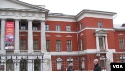 """莫斯科的俄罗斯当代历史博物馆刚刚举办了俄罗斯与朝鲜""""友谊的历史""""图片展览。(美国之音白桦拍摄)"""