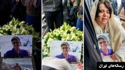 تصویری از مراسم خاکسپاری و دفن کاووس سیدامامی فعال محیط زیست که در زندان اوین جان باخت